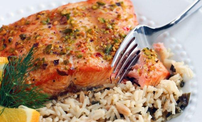 Fresh Caught Salmon with Wild Rice